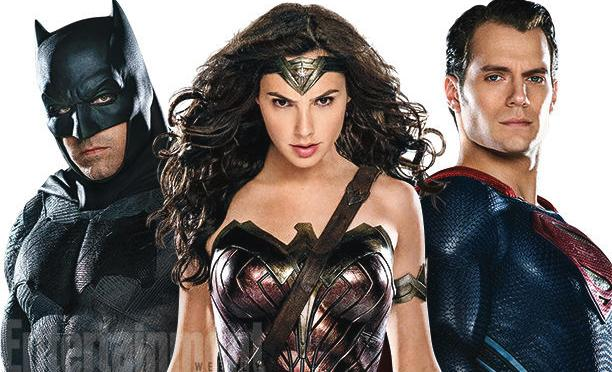 Photos of Batman, Superman, Wonder Woman and Lex Luthor from Batman v Superman